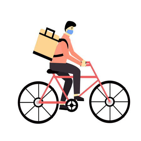 Courier carries order in a thermal bag on a bicycle, a vector graphics