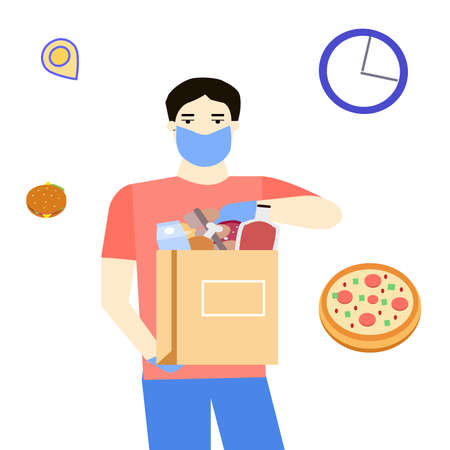 Courier gives away a package of products, vector graphic Illusztráció