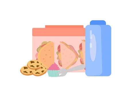 Lunch box, cookies and water bottle, a vector chart