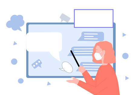 Teacher explains the material concept of online education, a vector graphics