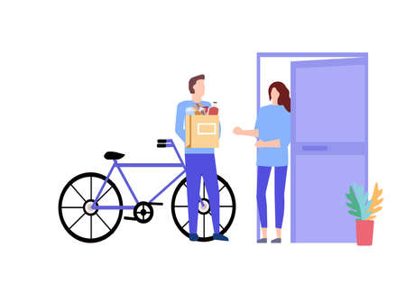 Courier gives away a package of products, a vector graphic Illusztráció