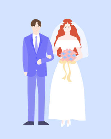 Young people are going to get married, a vector chart