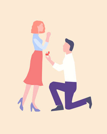 Young man dellates girl offer, a vector chart