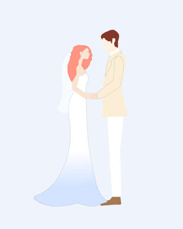 Young people are going to get married, a vector chart  イラスト・ベクター素材