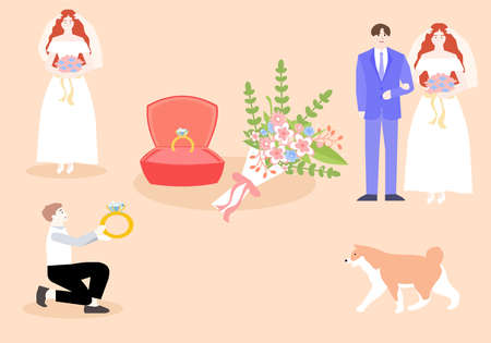 Young people are going to get married, a vector chart Ilustración de vector