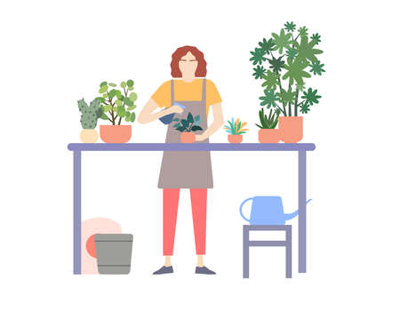 Girl takes care of plants, a vector graphics