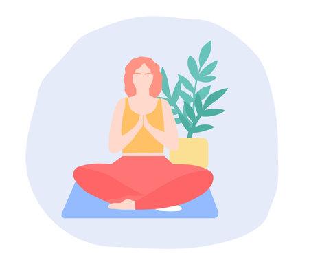The girl sits on the mat and meditates, a vector graphics Illusztráció
