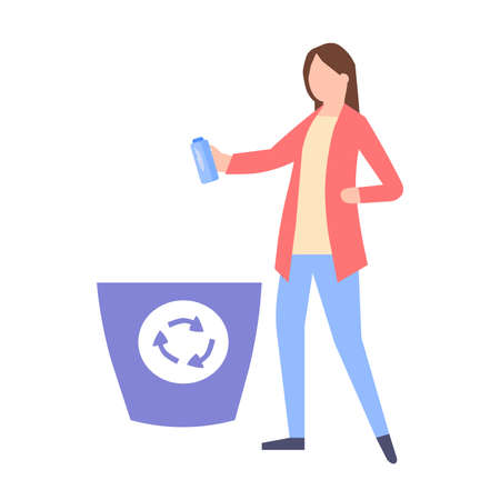 Girl throws out trash, a vector graphics