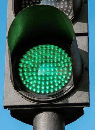 traffic light: Traffic light in green light lit day