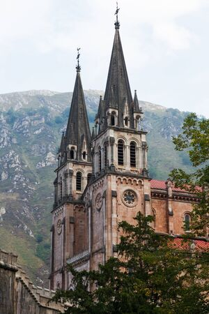covadonga: Towers of the Basilica of Covadonga in the mountains of Asturias  Spain