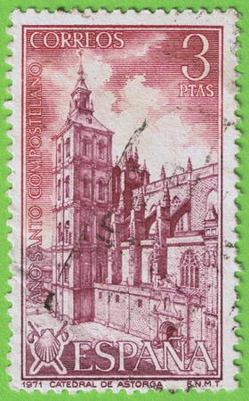 Used postage stamp and postmark  Spain Mail  Memorial Compostela Holy Year 1971  Face value 3 pesetas  Reason Astorga Cathedral  Leon   stamp
