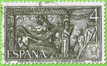 fabrica: Used postage stamp and postmark  1971  Spain, Reason  Chest of Charlemagne  Aachen  Germany  Memorial Compostela Holy Year  Face value 4 pesetas  Published by the Nacional fabrica moneda and timbre      Editorial