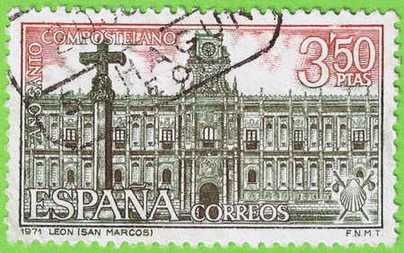 fabrica: Used postage stamp and postmark  1971  San Marcos  Leon  Spain  Memorial Compostela Holy Year  Face value 3 50 pesetas  Published by the Nacional fabrica moneda and timbre