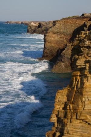 cantabrian: Ocean waves breaking on the shore cliffs Cantabrian Sea  Lugo, Galicia Norte of Spain