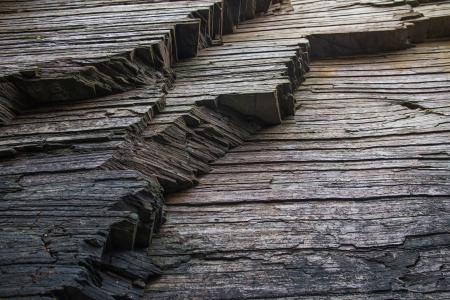 strata: Strata, ardesia o scisto roccia strati Costa cattedrali spiaggia di Playa de Aguas Santas Lugo Galizia Spagna