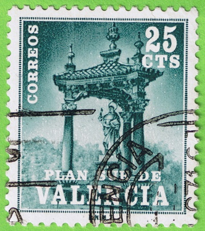 25 cents: Used postage stamp and postmark  Post Spain  Face value 25 cents  Reason Valencia   Editorial
