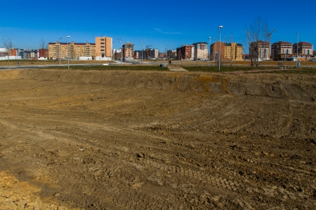 Cityscape polygon or housing development recently built  urbanized with empty lots but not built