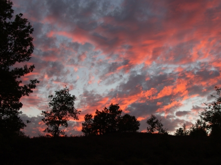 grays: Beautiful sunset at dusk in summer  Oak hill landscape  Heaven with fire reds and grays
