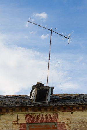godforsaken: Roof and garret in ruins with antenna of television and two placed birds