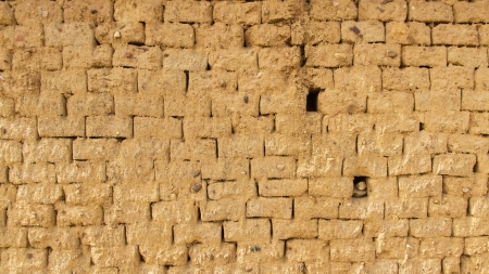 Wall for background or texture of mud and straw bricks  adobe  baked in the sun