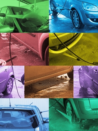 water jet: Photomontage colored composition or processes in the car wash hand pressure water jet