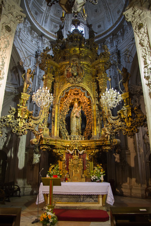 Chapel of Our Lady of the Big Eyes inside the Cathedral of Lugo in Galicia Spain  Polychrome stone carving