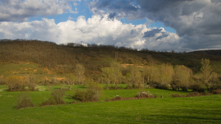 poplars: Spring landscape with green fields and meadows plant hedges, groves of poplars and willows and oaks at the bottom of hill Stock Photo