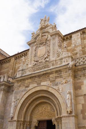 Facade of The Collegiate Basilica of San Isidoro in Leon Spain  Door Lamb  photo