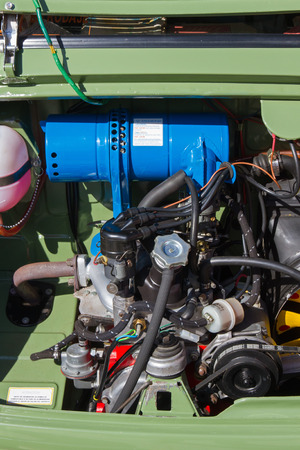 LEON, SPAIN - APRIL 27, 2014  Engine of a Classic Car Seat 600 at the XIV International Concentration  SEAT 600 of León  Vehicle manufactured in Spain between 1957 and 1973