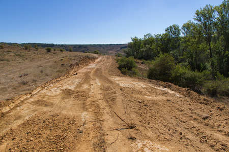 Clearing, grading, leveling and clearing of vegetation on land field for the construction of road or highway