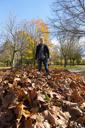 beardless: Young man with scarf around His neck standing on fallen leaves in autumn park Editorial