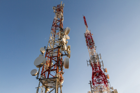 telecommunication equipment: Metal tower or turret telecommunications satellite dishes reception and emission