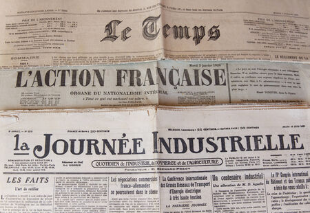 twentieth: Headers headline three French tabloid newspapers of the 20s Twentieth Century Editorial
