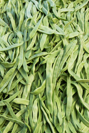 fruit trade: Green beans in bulk in displaying for sale on the market