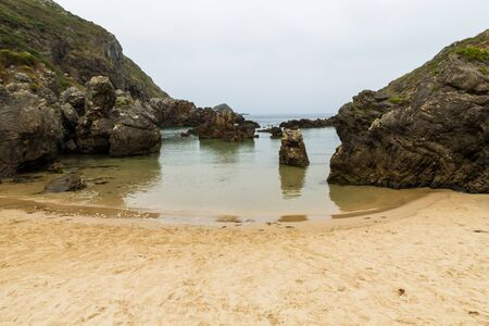 northern spain: Beautiful beach in the town of Barro  near Llanes  early in the morning Asturias Northern Spain