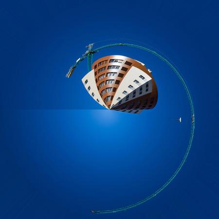 Creación circular que representa la industria de la construcción con una arquitectura modernas arquitecturas, y una grúa de construcción - Creacion circular Representando la industria de la construccion ONU de la estafa edificio de aquitectura moderna, y Una grua de constru