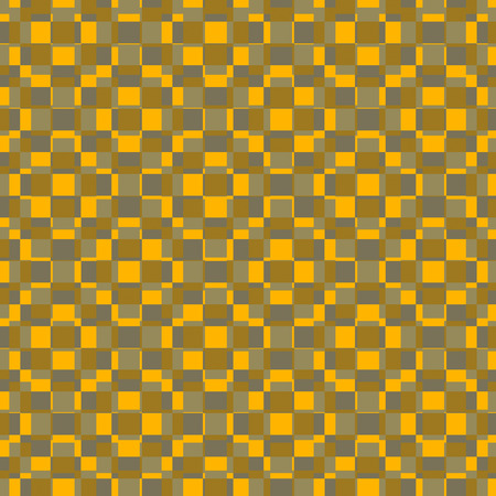 ocher: Textile pattern design or wallpaper. With square or rectangular shapes superimposed in warm yellow and ocher tones