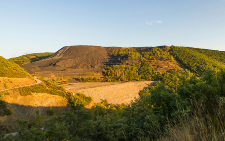 open pit: Landscape altered by coal mine waste dump of open pit retaining wall waste