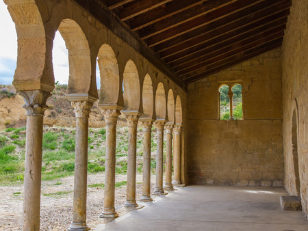 way of st james: Arches of the portico outside the Mozarabic Church of the Monastery of San Miguel de Escalada Century X in Leon Spain