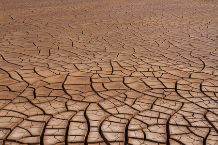 sludge: Basin sludge tank gravel with clay soil cracked by the absence of water Stock Photo