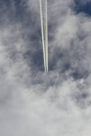 steam jet: Jet entering itself in the clouds of heaven and leaving trace or steam jet, viewed from below