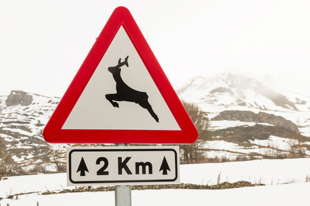km: Traffic signal at danger, with the image of a deer, wild animals Announces a distance of 2 km of road in snowy winter landscape