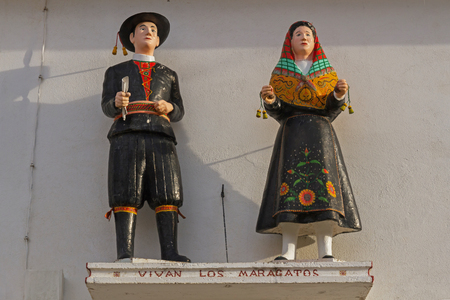 Maragatos figures or sculptures Inhabitants of the county of Astorga in Leon Spain dressed in traditional costume