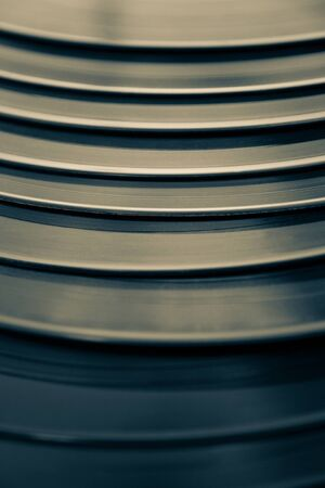 vinyl records: Vinyl Records LP stacked in staircase and retro photographic treatment Stock Photo