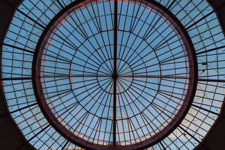 bullring: Detail glass dome view from inside closing Bullring Stock Photo