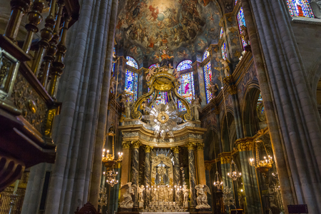 high altar: Interior of the Cathedral of Lugo in Galicia Spain. Ship With the high altar, of neoclassic eighteenth century and paintings on the ceiling