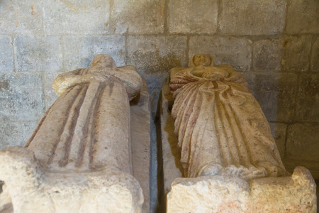 founders: Sculpture recumbent bodies of man and woman in the Interior of the Church of the Cistercian Monastery of Santa Maria de Gradefes the twelfth century (possibly the tombs of the founder of the monastery marriage)
