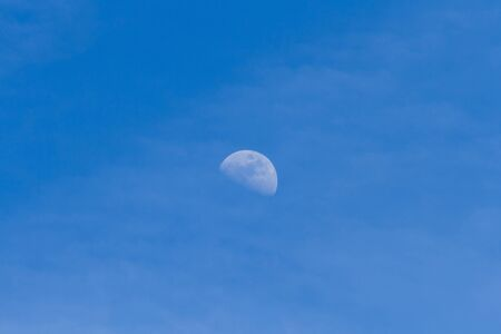 crescent: Crescent moon of day, in sky blue