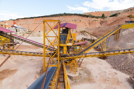 Machinery distribution gravel pit at outdoor