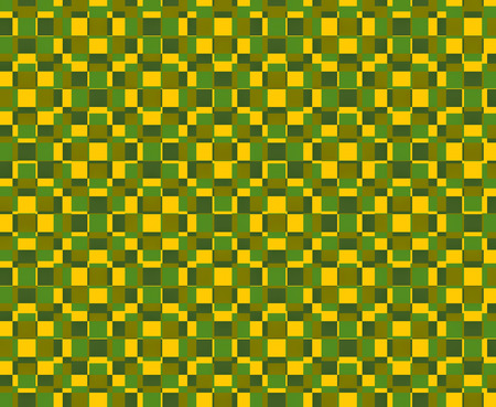 Textile pattern design or wallpaper. With square or rectangular shapes superimposed in yellow and green tones
